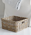Grey willw square basket. Perfect for magazines in living room