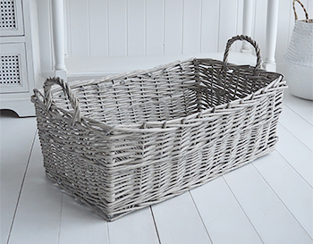 Windsor Grey Long Basket For Under Table From The White