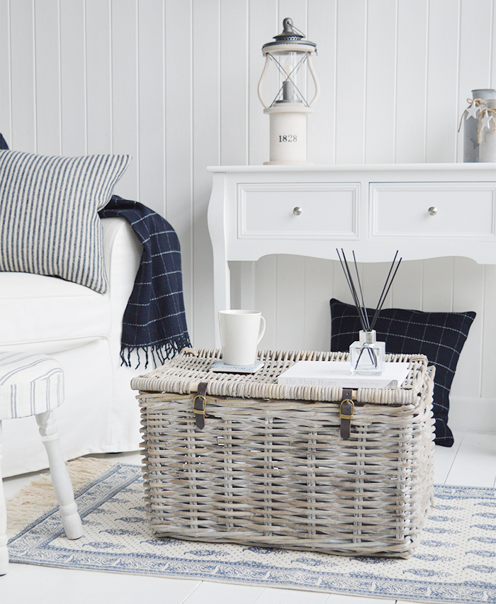 Hampshire navy and white check wool throw from The White Lighthouse Furniture and Interiors for the Hallway, living room, bedroom and bathroom in New England styles country, coastal and city homes