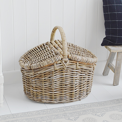 Harrow grey wash basket for a storage table