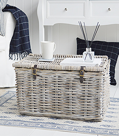 Harrow white wash basket with lid from The White Lighthouse Furniture. New England, country, coastal, city and whie home interiors. Hallway, Bedroom , Bathroom and living room coffee table