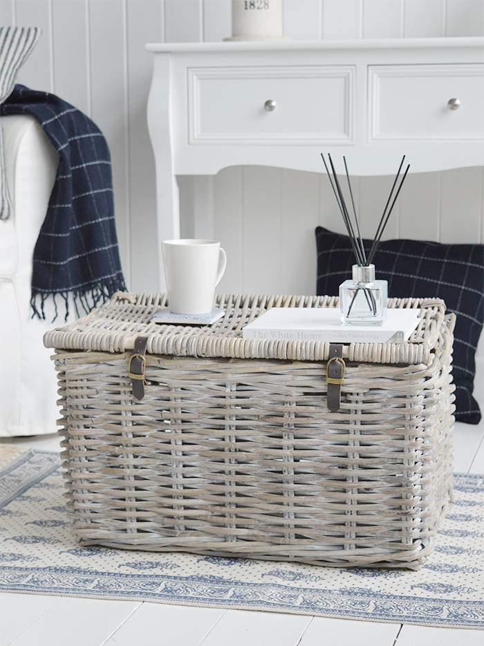 Harrow white wash basket with lid from The White Lighthouse Furniture. New England, country, coastal, city and whie home interiors. Hallway, Bedroom , Bathroom and living room