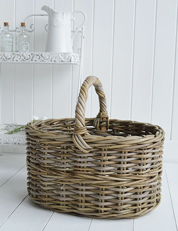 Casco Bay grey willow basket  for toilet rolls