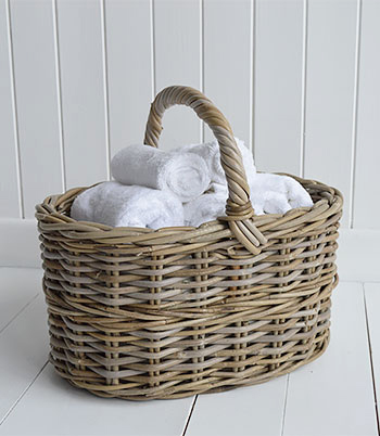 Casco Bay grey willow basket  for towels