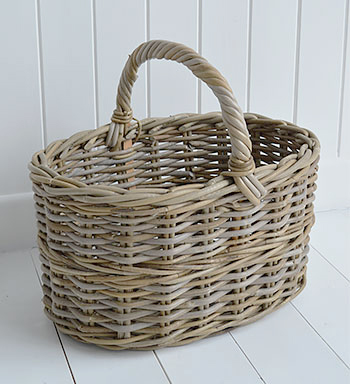 Casco Bay grey willow basket  for home storage