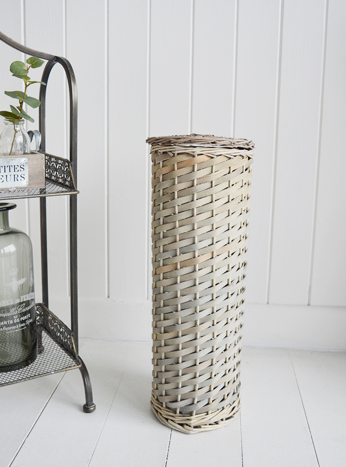 Boothbay Grey Toilet Roll Basket with lid for 4 toilet rolls for bathroom storage