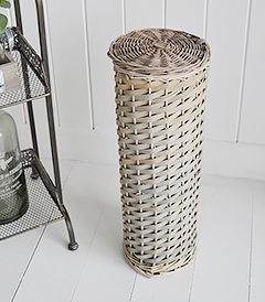 Boothbay Grey Toilet Roll Basket with lid for 4 toilet rolls