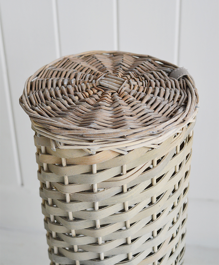 Boothbay Grey Toilet Roll Basket with lid for 4 toilet rolls from The White Lighthouse