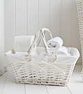White basket with handles