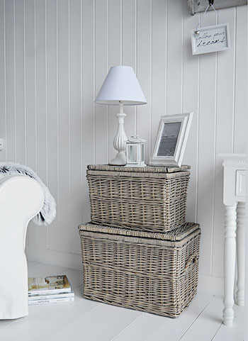 Living Room basket storage in grey