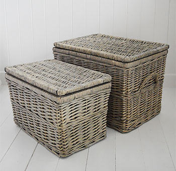 Set of two lined grey baskets with hinged lids
