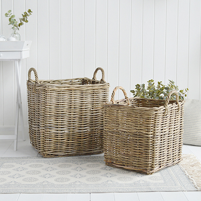 Casco Bay extra large square basket from The White Lighthouse Furniture. New England, country, coastal, city and white home interiors. Hallway, Bedroom , Bathroom and living room