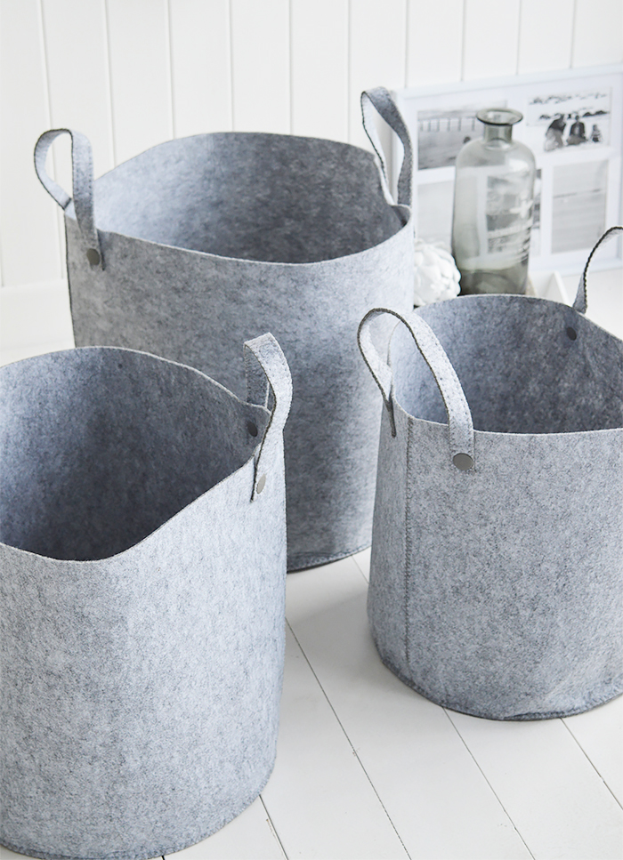 Kittery set of 3 grey fabric baskets with handles for home interiors