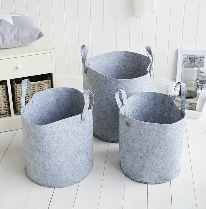 Kittery set of 3 grey fabric baskets for home interiors