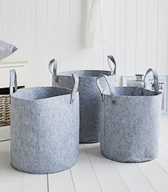 Kittery set of 3 grey fabric baskets for home storage from The White Lighthouse Furniture mobile
