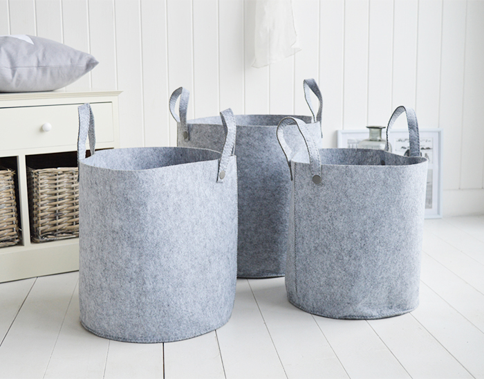 Kittery set of 3 grey fabric baskets