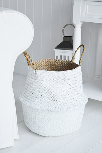 Set of 2 white baskets with handles for toys