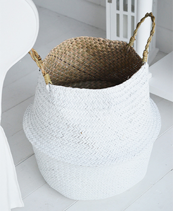 Set of 2 white baskets with handles toy basket storage