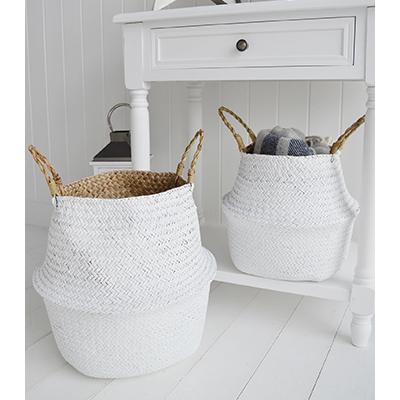 Set of 2 kingston white seagrass belly baskets for a white home