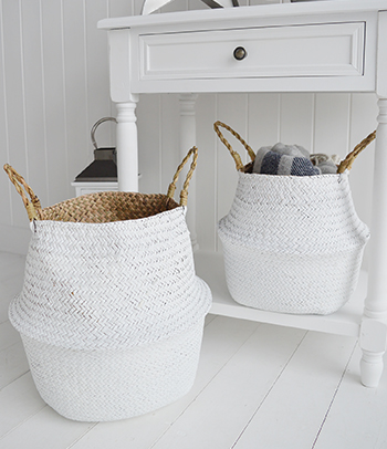 Kingston white baskets seagrass belly basket