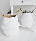 Kingston set of 2 white bellybaskets, basket storage. Add texture with coastal home accessories