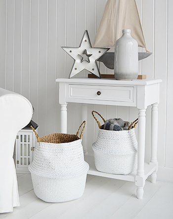 Set of 2 white baskets with handles for living room