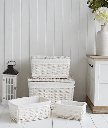 Set of white storage baskets