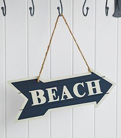 Hanging Beach Sign for coastal beach home interior design