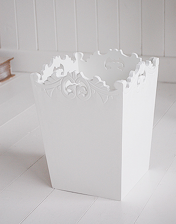 White Decorative Waste Paper Bin From The White Lighthouse