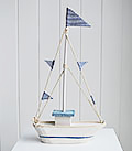 Blue and white decorative boat