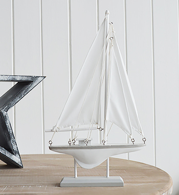 Decorative White and Grey Sailing Boat Yacht