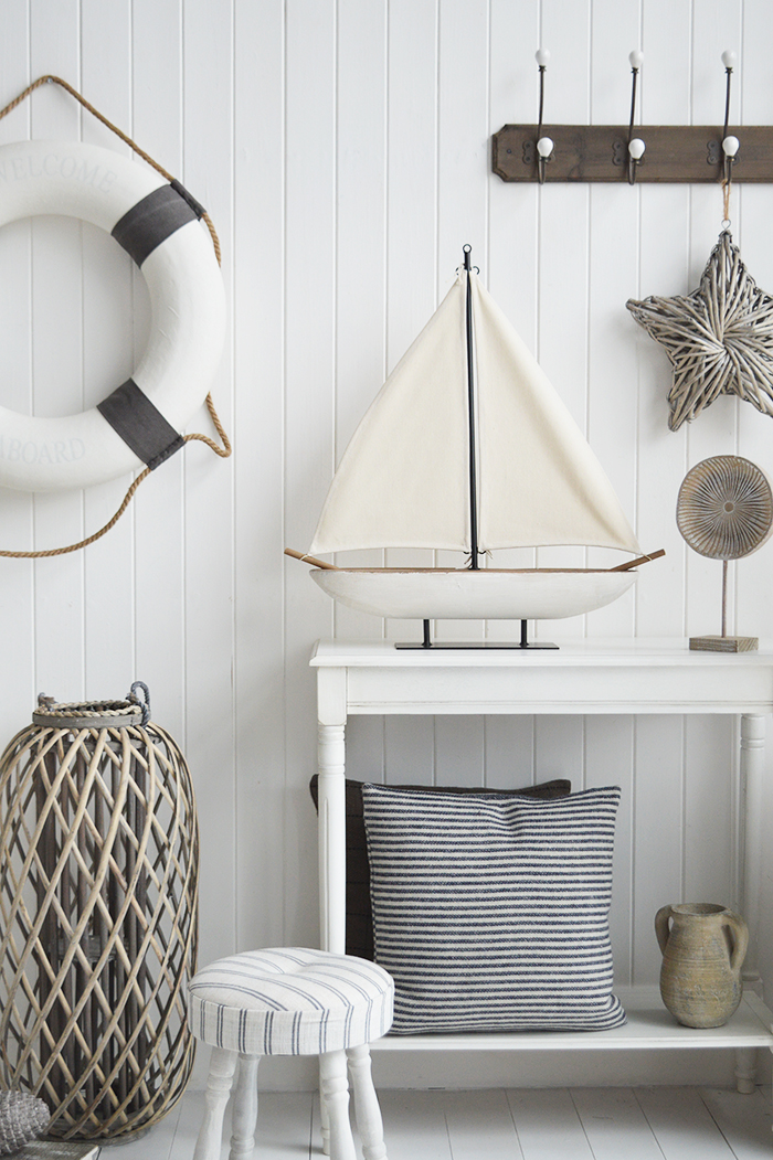 Large Wooden Distressed Boat Nautical Coastal Home Accessories