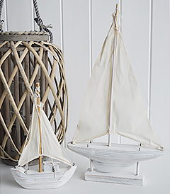 Decorative White Sailing boats for coastal home decor