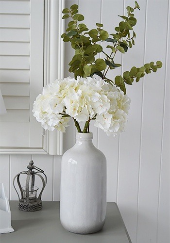 White Hydrangea natural and realistic Eucalyptus