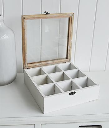 Antique white compartment storage box