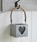 Hanging Grey heart Candle holder
