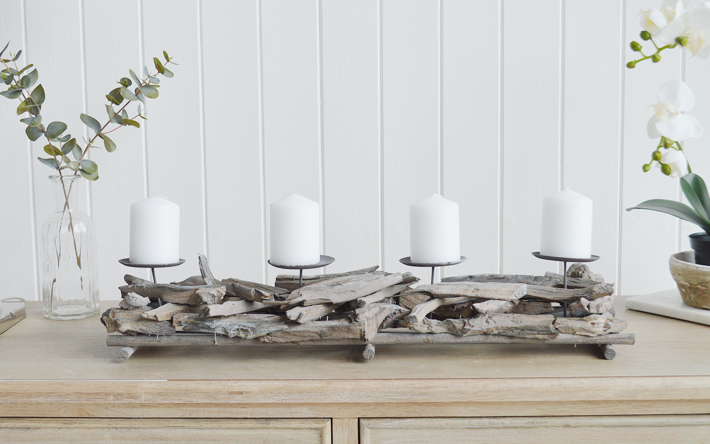 Driftwood Candle Holder The White Lighthouse New England Coastal Farmhouse And Country Home Furniture And Decor Accesories