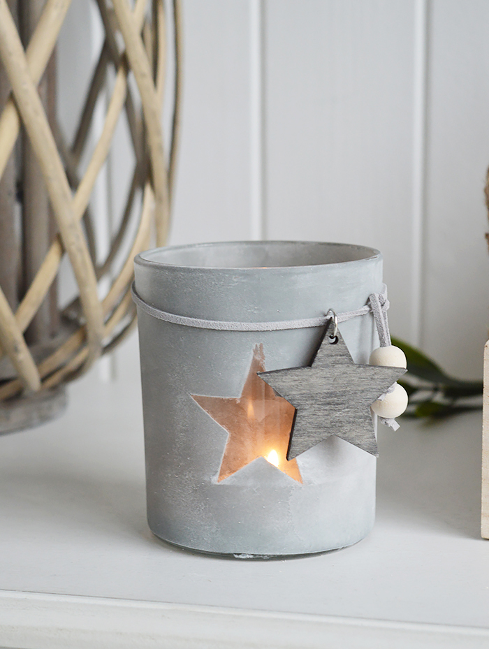 Etched glass candle holder with stars from The White Lighthouse. New England , coastal, country and white furniture and home interiors for the hallway, living room, bedroom and bathroom