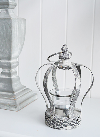 grey crown tea light candle holder the white lighthouse With kitchen cabinets lowes with crown votive candle holder