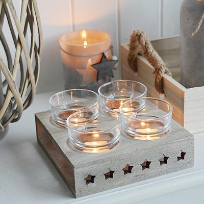 Candelabra Home Decor Wooden White Star Shaped Candle Holder Decoration,...