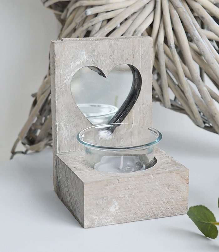Nantucket grey Wooden candle holder with heart for coastal New England furniture from The White Lighthouse