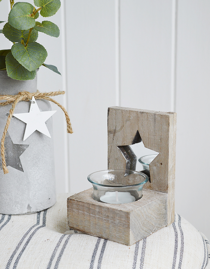Nantucket grey candle holder tealight for coasta, New England and country home  interiors