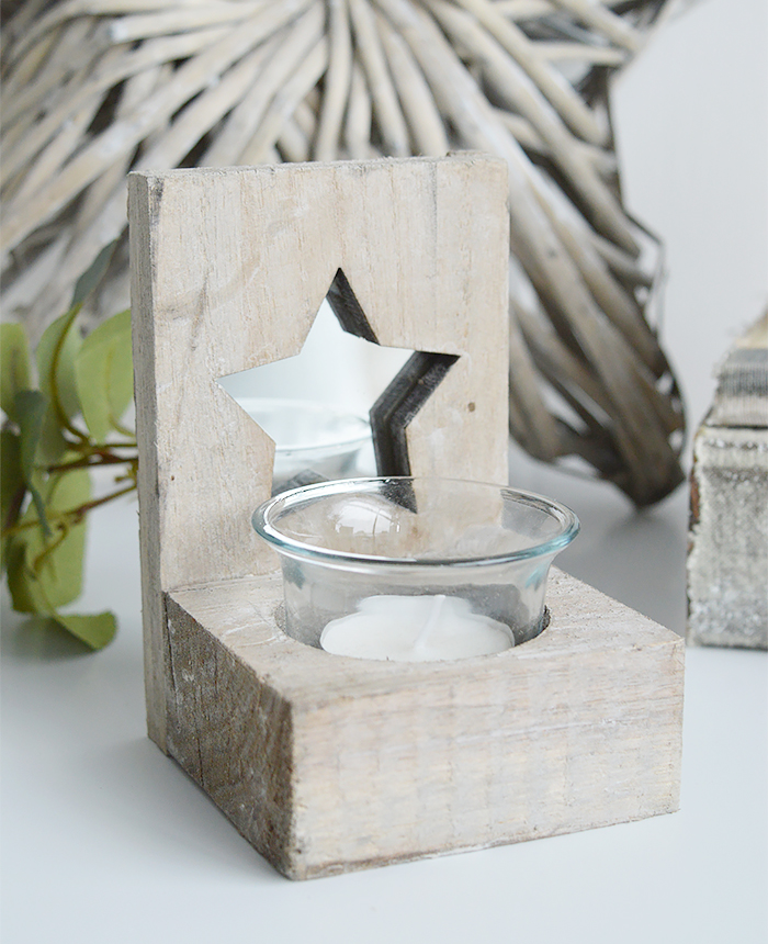 Nantucket grey Wooden candle holder with star