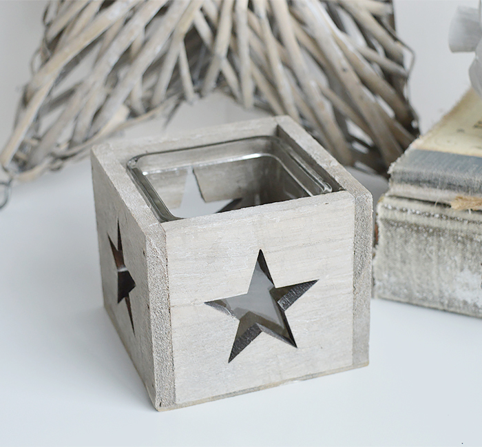 Nantucket grey star candle holder from The White Lighthouse for coastal, New England and country furniture and home decor interior designs