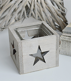 Nantucket grey star candle holder from The White Lighthouse for coastal, New England and country furniture and home decor interiors and room