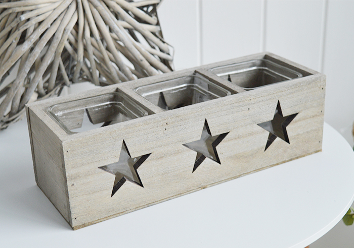 Nantucket grey Wooden triple candle holder with stars for coastal New England furniture from The White Lighthouse from The White Lighthouse