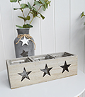 Nantucket Candle Holder - Grey Triple Stars - The White Lighthouse Coastal New England Furniture