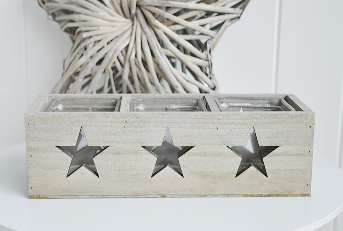 Nantucket grey Wooden triple candle holder with stars for coastal New England furniture from The White Lighthouse