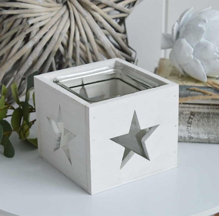 White Nantucket candle holder from The White Lighthouse New England and coastal furniture interiors
