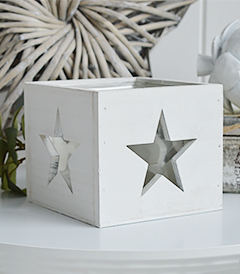 White Nantucket candle holder from The White Lighthouse Coastal and New England furniture and home interiors